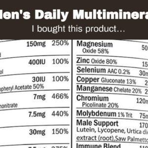 Men's Daily Multimineral Multivitamin Supplement. Vitamins A C E D B1 B2 B3 B5 B6 B12. Magnesiu...